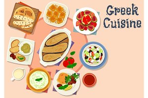 Greek cuisine tasty lunch dishes icon