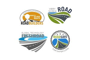 Road construction, build and repair service icon