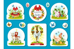 Easter holiday sticker and label set design