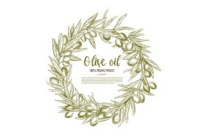 Olive wreath sketch label for oil and food design