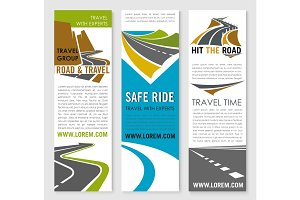 Road trip and travel banner template set design