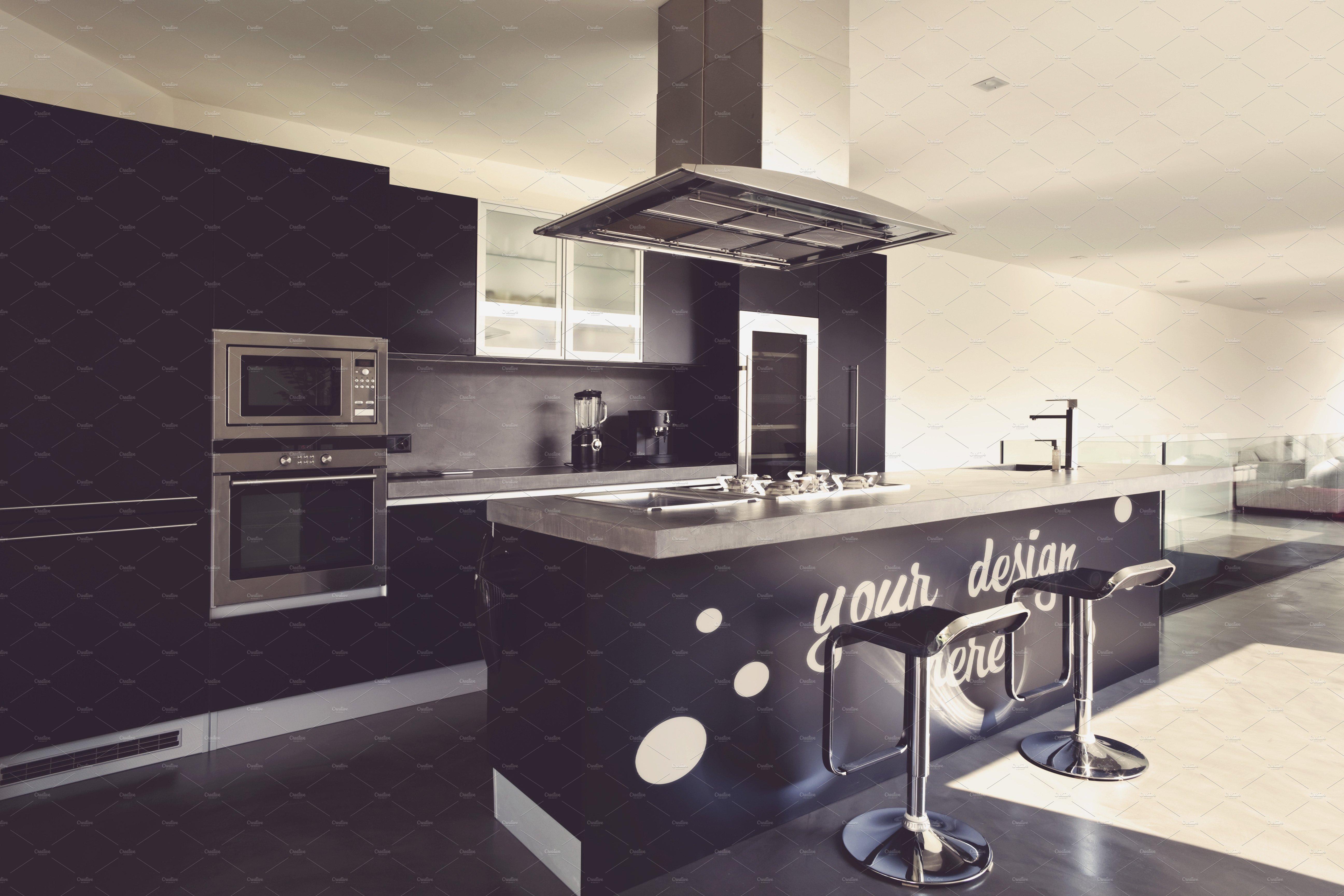 Kitchen mock up 1 product mockups creative market - Cuisine design petite surface ...