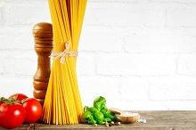 Tasty pasta ingredients. Closeup.