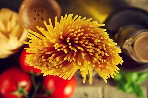 Tasty pasta ingredients. Closeup.Top