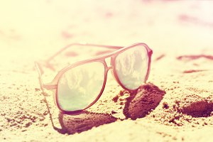 Travel or summer concept. Sunglasses