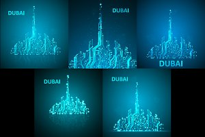 Set of technology image of Dubai
