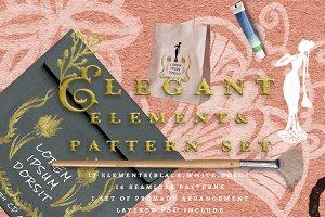 Elegant handdrawn floral graphic set