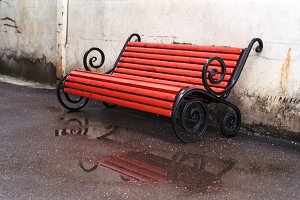 Urban details series: Red bench in rainy day | 35mm film scan