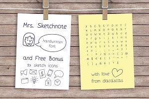 Mrs. Sketchnote Handwritten Font