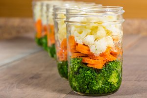 Jars of fresh cut vegetables