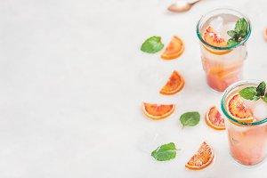 Homemade blood orange lemonade