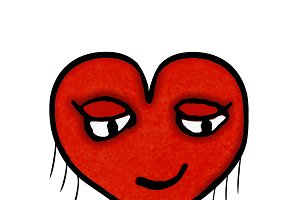 Heart Shape Character with Pleased Expression