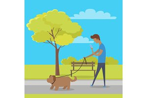 Leisure in City Park Flat Vector Concept
