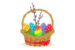 Colorful Eggs, Brench of Willow in Wicker Basket