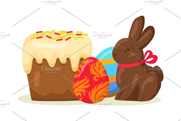 Traditional Easter Treats Isolated Illustration