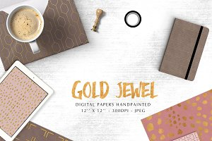Gold jewel digital papers