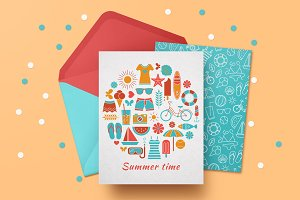 Summer vacation card and pattern