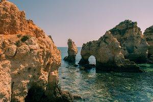 Algarve coast, Portugal. Rocky beach