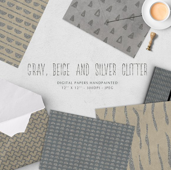 Gray, beige and silver glitter DP