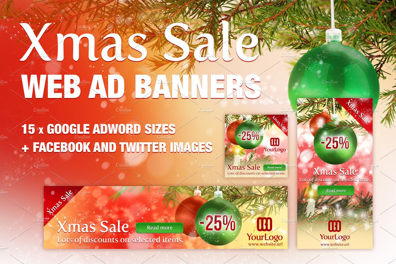 xmas ad banners for google adwords web elements creative market