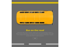Bus on Road Conceptual Flat Vector Web Banner