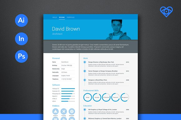 material resume blue resume templates creative market
