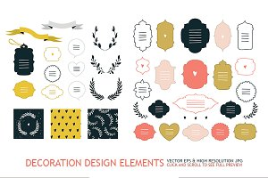 Hand drawn design elements set