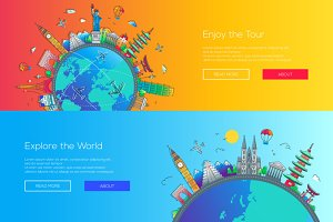 Flat design web page travel banners set