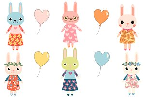 Cute colorful bunnies clipart set