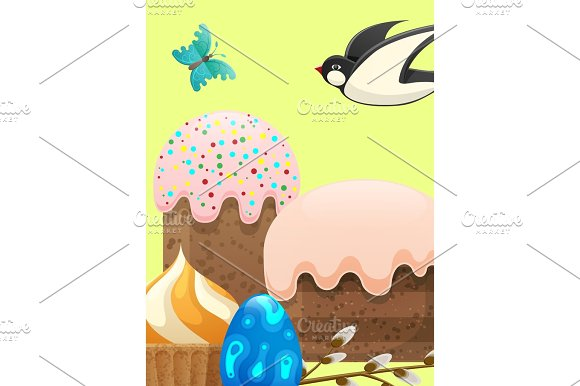 Easter Composition In Pastel Colors Illustration