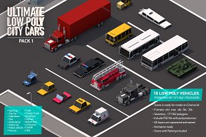 Ultimate Low Poly City Cars Pack 1