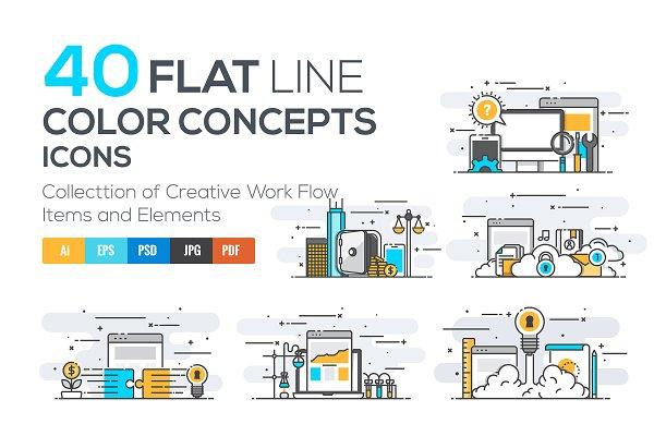 Flat Line Color Conceptual icons