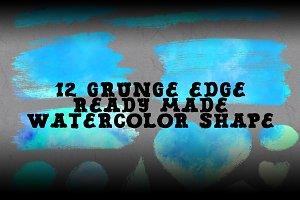 12 grunge edge watercolor shape