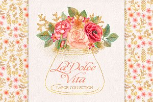 Watercolor glitter floral collection
