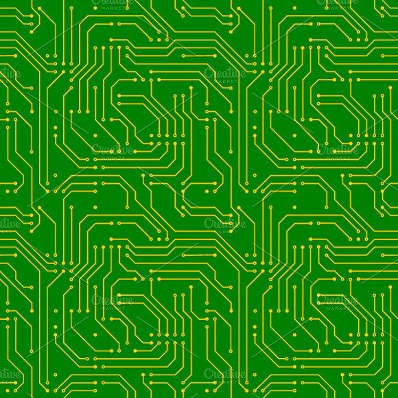 Golden Microchip Pattern On Green
