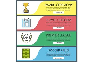 Soccer banner templates set