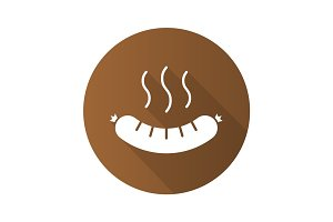 Steaming sausage flat design long shadow icon