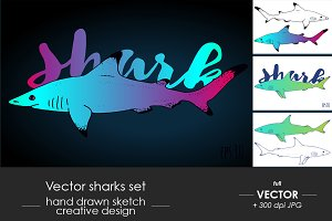 Vector sharks set