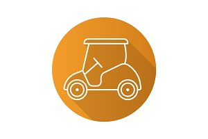 Golf cart flat linear long shadow icon