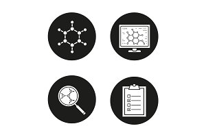 Science laboratory icons set
