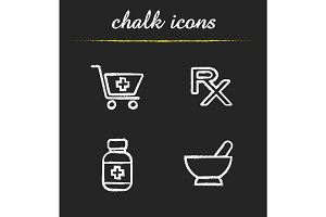 Pharmacy chalk icons set