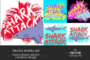 Sharks set, shark attack