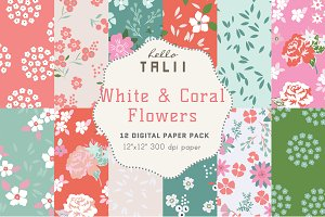 Coral Flowers Digital Paper