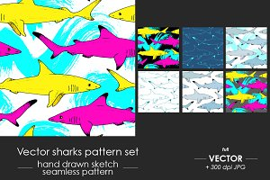 Sharks - seamless pattern set