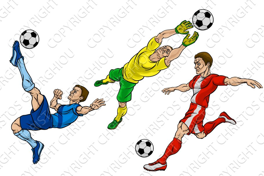 Cartoon Football Soccer Players Set Pre Designed Illustrator Graphics Creative Market