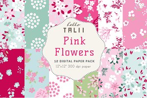 Pink Flowers Digital Paper
