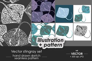 Stingray fish illustrations, pattern