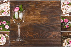Tableware and silverware with light pink roses on the wooden background