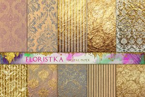 Ombre Damask Gold Patterns