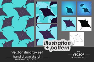 Stingray illustrations, patterns